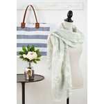 Floral Linen Scarf - French Blue