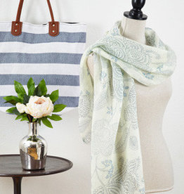 Saro Trading Company Floral Linen Scarf - French Blue