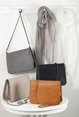 Saro Trading Company Chain Strap & Trim Design Bag - Taupe
