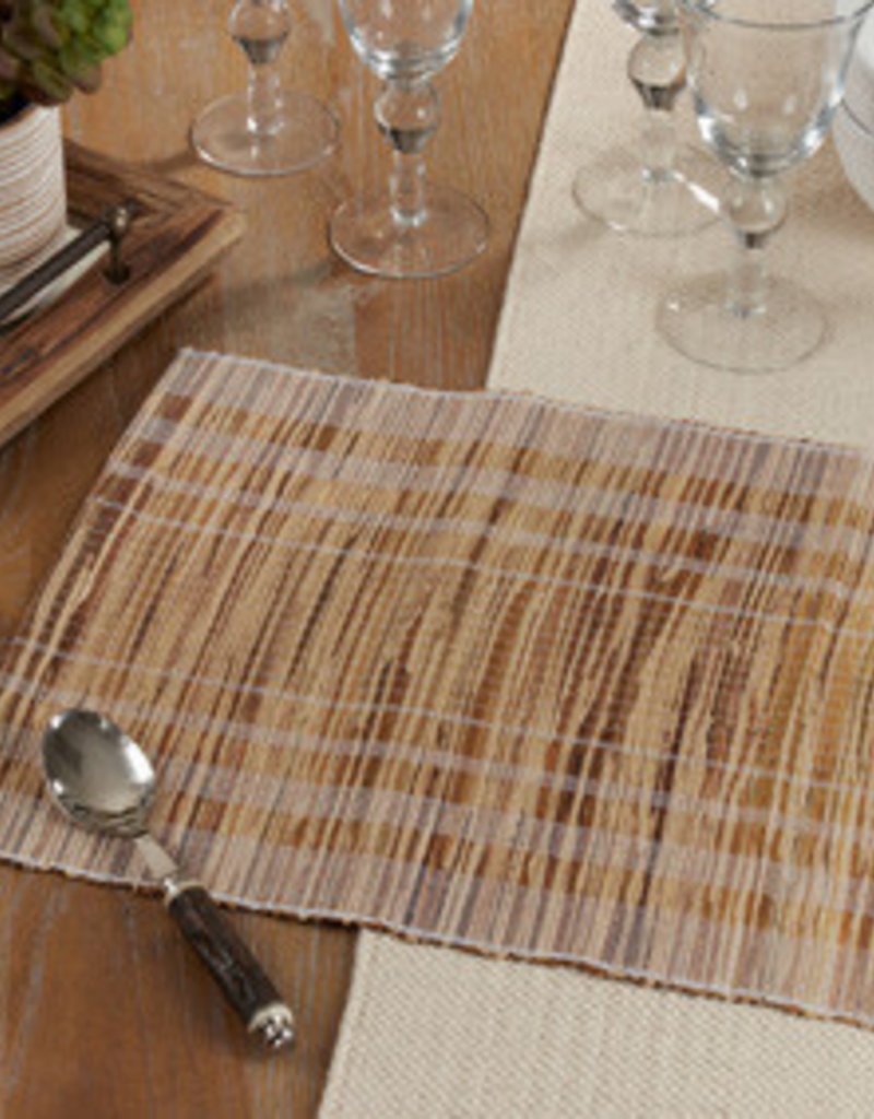 Saro Trading Company Striped Water Hyacinth Placemat - White