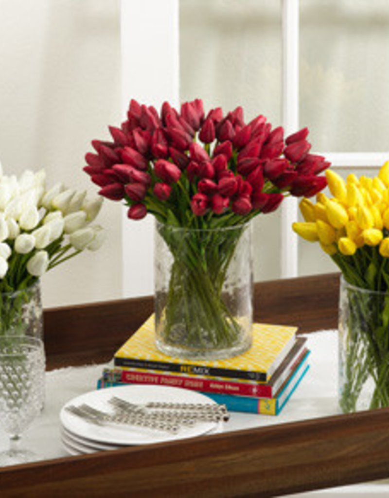 Saro Trading Company Petite Tulip 9-Piece Bunch - Red