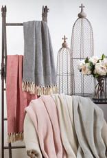 Saro Trading Company Soft Cotton Diamond Weave Throw - Pink