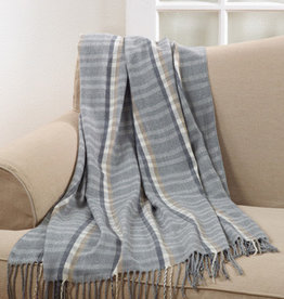 Saro Trading Company Plaid Tassle Throw - Grey