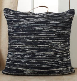 Saro Trading Company Denim Chindi Pillow - Navy Blue
