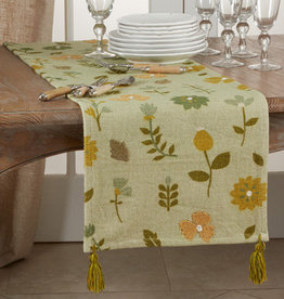 Saro Trading Company Embroidered Floral Runner - Green