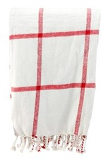 Tri W Imports Throw Blanket Ivory & Red