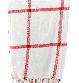 Tri W Imports Throw Blanket Ivory & Red (Tri)