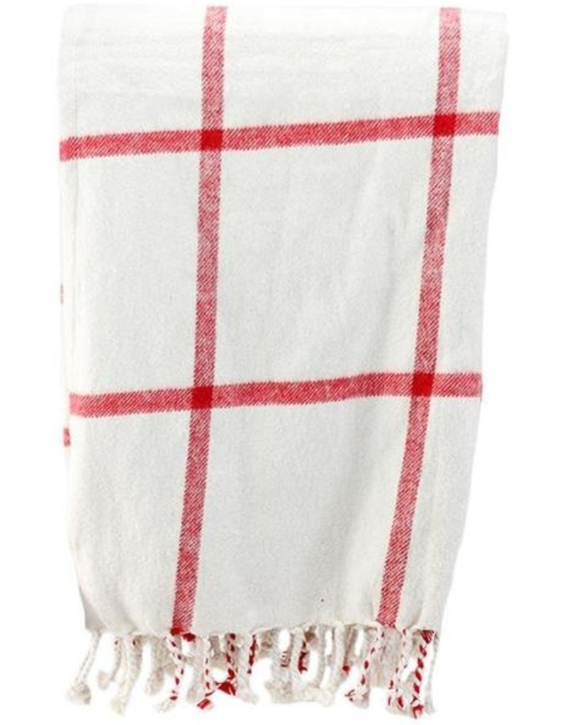 Tri W Imports Throw Blanket Ivory & Red (Tri)