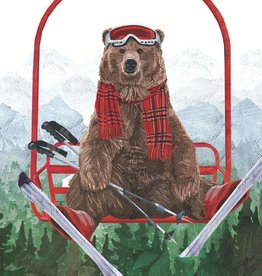 PPD Beverage Serviette - Ski Lift Bear