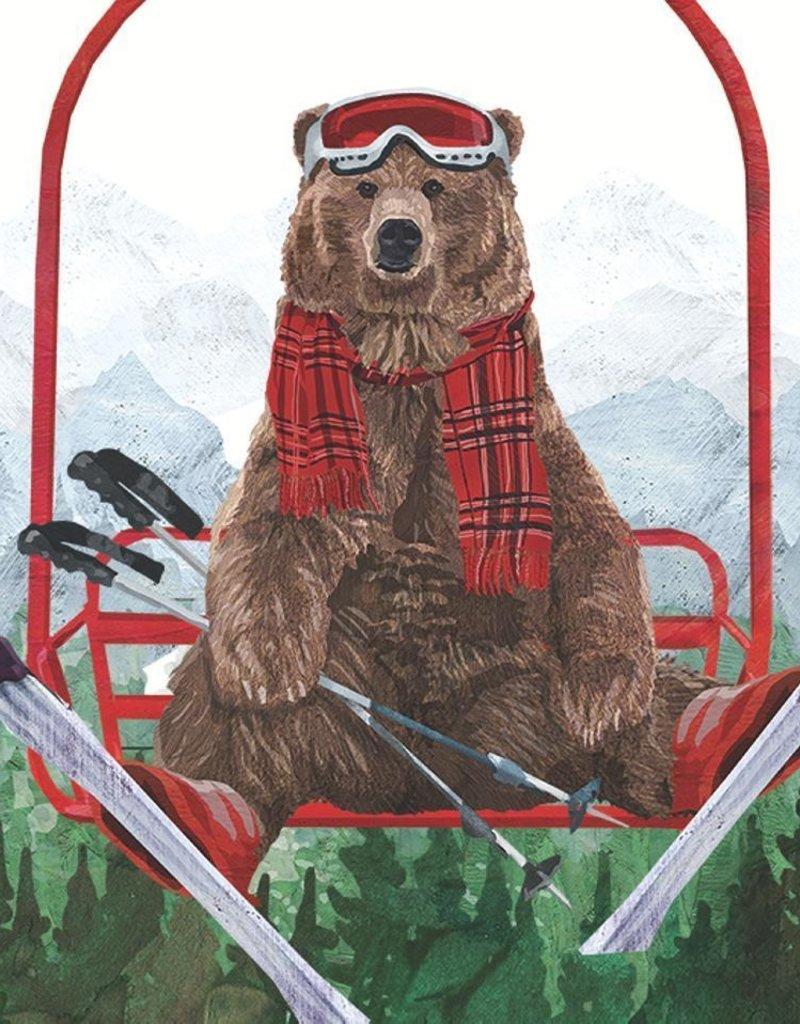 PPD Beverage Serviette - Ski Lift Bear