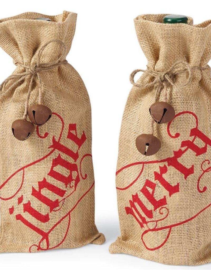 Mudpie Jingle Bell Wine Bags