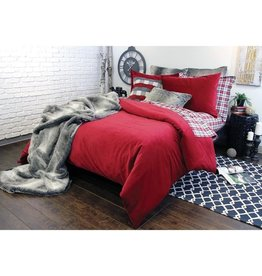 Alamode Home Soho Twill Red Duvet Set - Queen