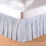 Sea Blue Ticking Bed Skirt - King