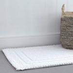 Cotton Border Bath Mat - White