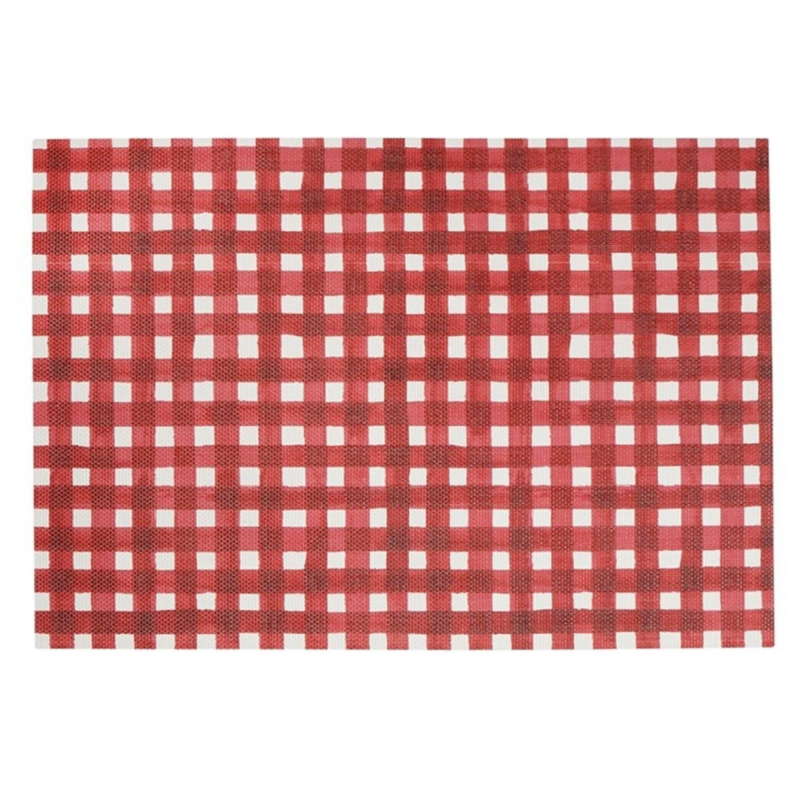 Red Plaid Vinyl Placemat