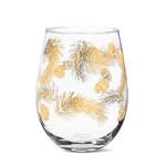 Gold Pinecone Stemless Wine Glass