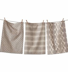 Tag ltd Henna Block Print Dishtowels Set of 3