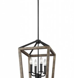 Feiss Feiss Gannet 4-Light Chandelier - Weathered Oak