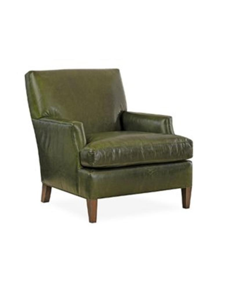 Lee Industries Sackett Wood Leather Chair - Pecan
