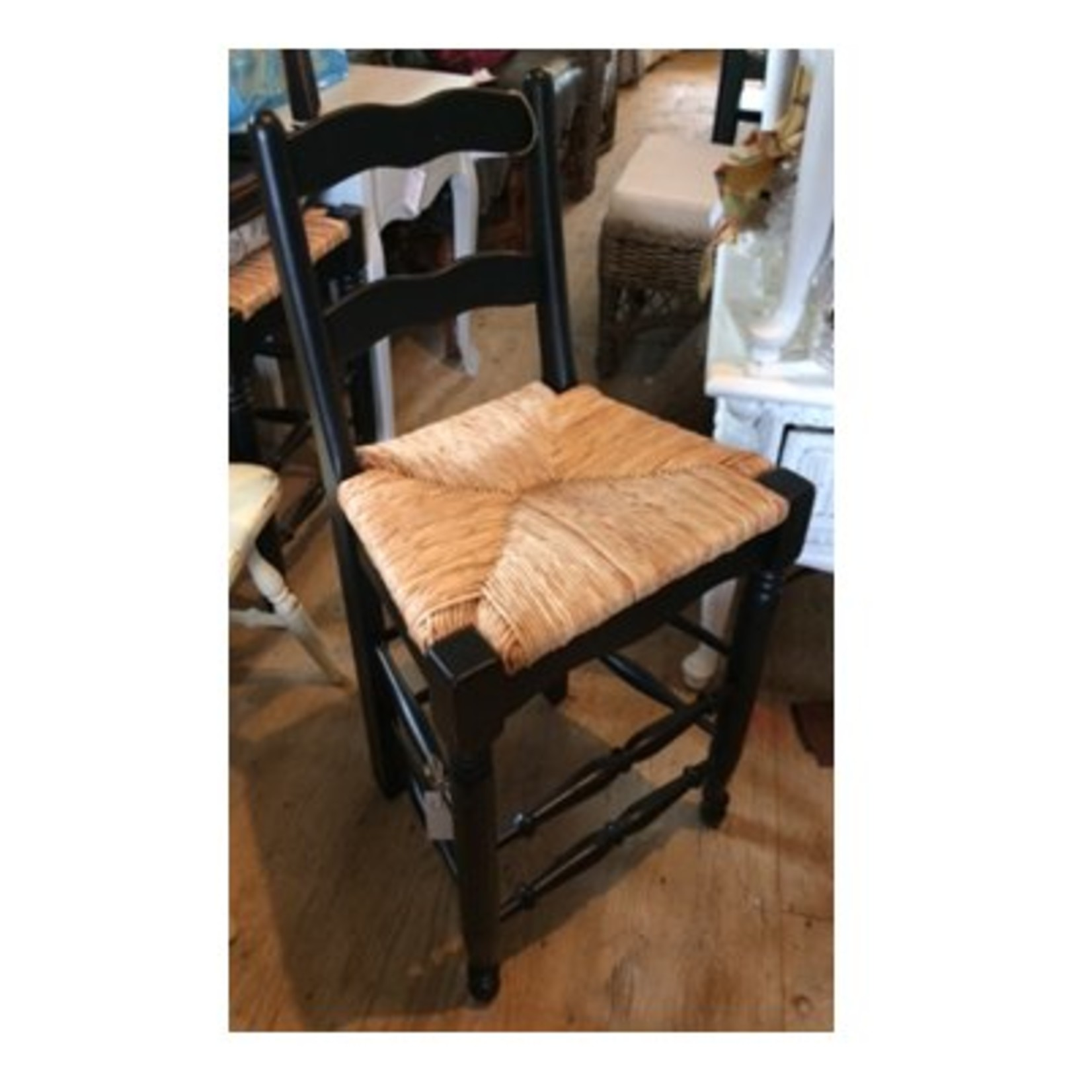 Counter Stool - Black with Wicker Seat