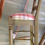 Lorts Counter Stool - Green with Plaid Seat