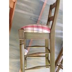 Counter Stool - Green with Plaid Seat