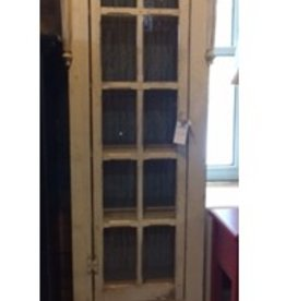 Unique Traditions Cream Distressed Glass Door Cabinet