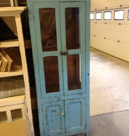 Blue Distressed Two Door Cabinet
