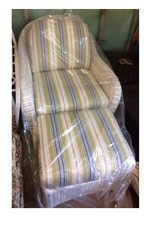 White Wicker Chair & Ottoman