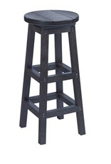 C.R. Plastic Products Outdoor Bar Stool - Black