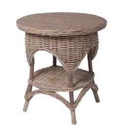 Designer Wicker Conservatory End Table - Weather Grey