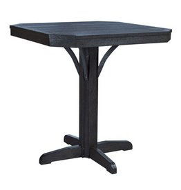 "C.R. Plastic Products St. Tropez 35"" Square Counter Table - Black"