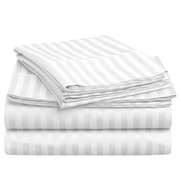 Home City Inc. Stripe Sheet Set - Twin - White