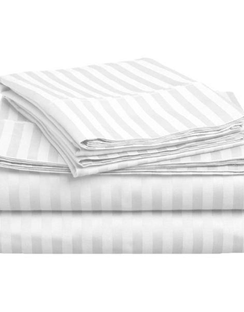 Home City Inc. 400TC Stripe Sheet Set - Twin - White