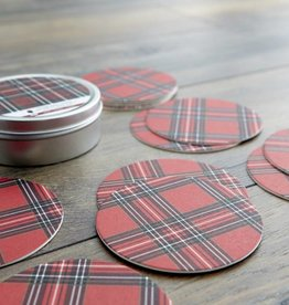 Harman Holiday Plaid Paper Coaster with Tin Set of 12