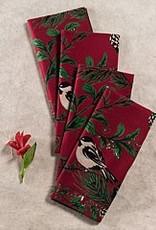 April Cornell Chickadee Napkins, Set of 4, Red