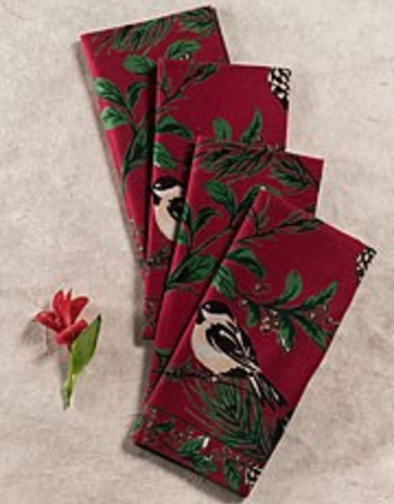 April Cornell Chickadee Napkins, Set of 4, Red