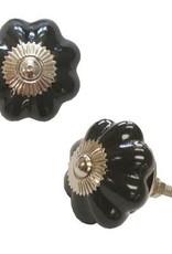 North American Country Home Ceramic Black Pumpkin Knob