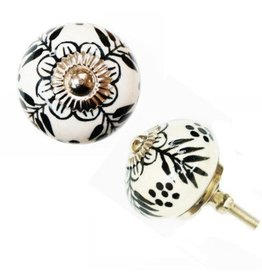 North American Country Home Ceramic Round Leaf Door Knob