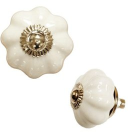 North American Country Home Ceramic White Pumpkin Knob