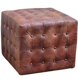 North American Country Home Leather Pouf with Buttons