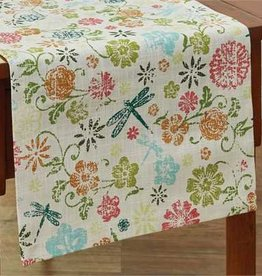 Park Design Dragonfly Floral Table Runner 72""