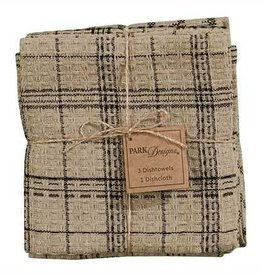 Park Design Fieldstone Plaid 3 Dishtowel & 1 Dishcloth Set