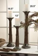 Saro Trading Company Faux Bois Candleholders, Set of 3