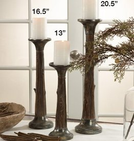 Saro Trading Company Faux Bois Candleholders, Set of 3
