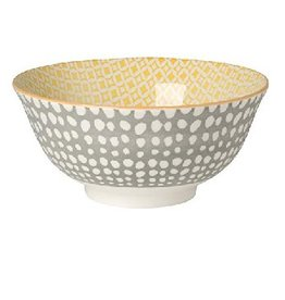 Danica Gray Dots/Yellow Stamped Bowl