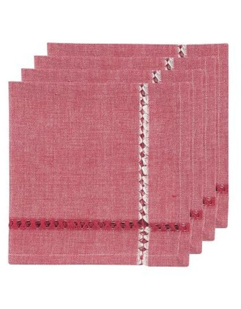 Danica Tangier Knotted Red Napkins, Set of 4