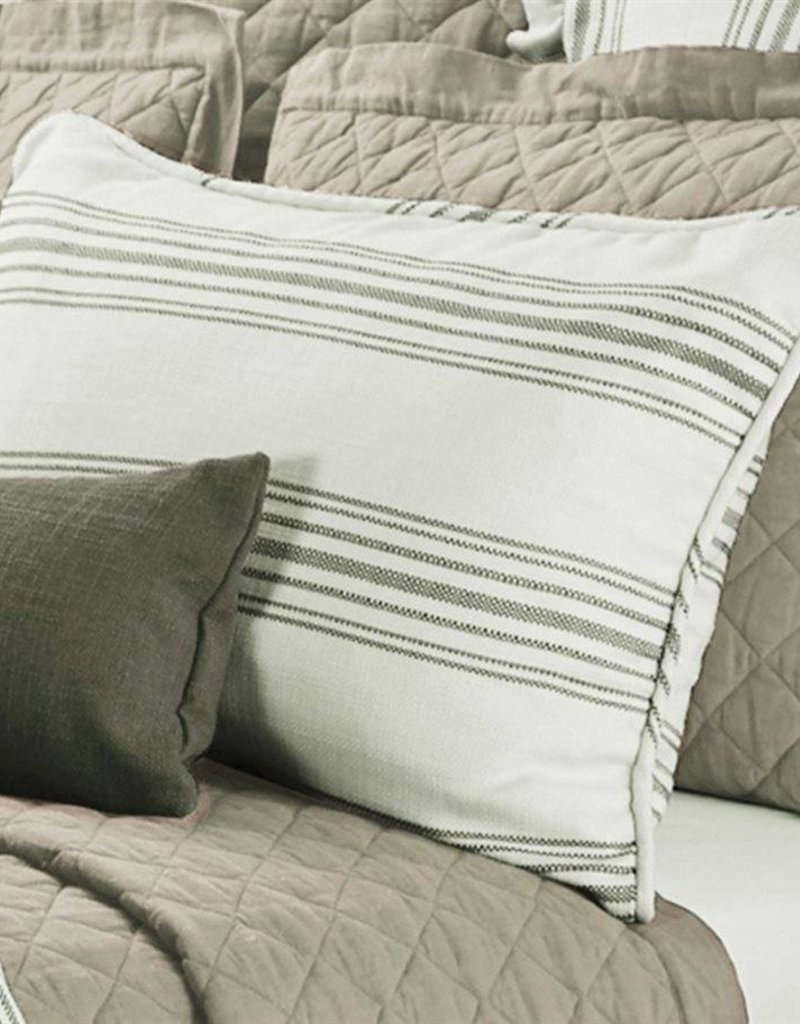 HiEnd Accents Taupe Prescott Stripe Pillow Sham, Queen Pair