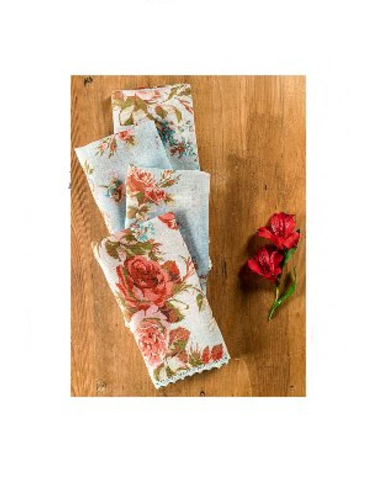 April Cornell Heirloom Rose Linen Napkins, Set of 4