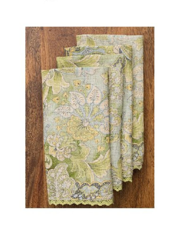 April Cornell Jacob's Court Green Linen Napkins, Set of 4